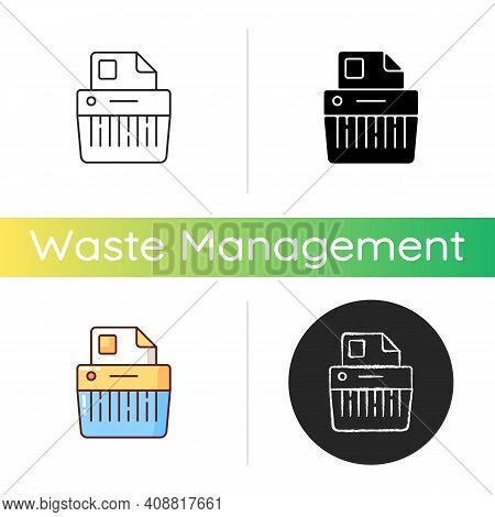Paper Shredding Icon. Cutting Paper Into Either Strips, Fine Particles. Mechanical Device. Destroyin