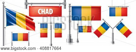 Vector Set Of The National Flag Of Chad In Various Creative Designs