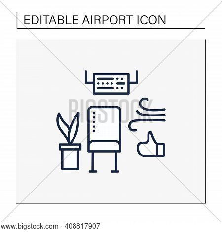 Comfortable Waiting Area Line Icon.clean And Fresh Air For Passengers On Plane. Timely Disinfection