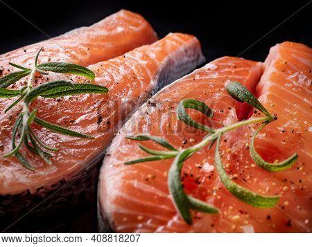 Fresh raw salmon fish fillet, close up
