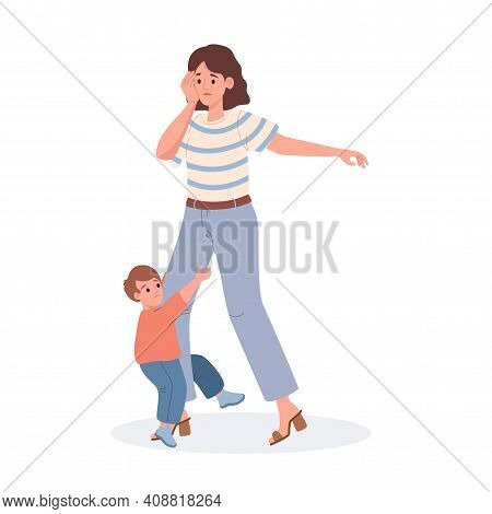 Mother With Her Son Vector Flat Illustration Isolated On White Background. Tired And Sad Mom, Her Li