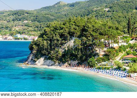 Tsamadou Beach, A Beautiful Scenic Beach On The North Coast Of The Greek Island Of Samos, A Popular