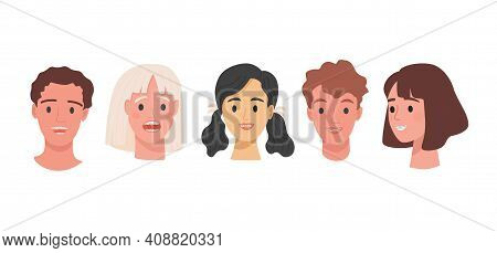 Set Of Human Heads With Braces On Teeth Vector Flat Illustration Isolated On White Background. Men A