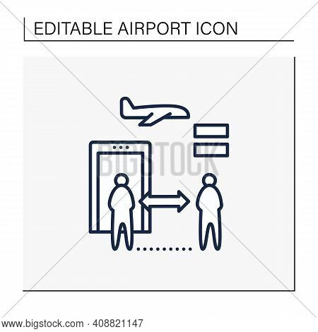 Social Distancing At Airport. Distance Between Checkpoints Line Icon. Safe Distance For Passengers.