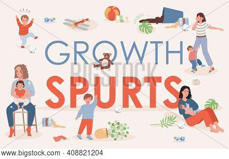Growth Spurts Vector Flat Poster Design With Space For Text. Tired And Exhausted Parents Trying To C