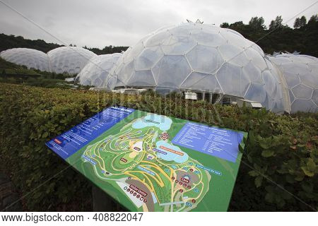St. Austell (england), Uk - August 14, 2015: Eden Project Map, St. Austell, Cornwall, England, Unite