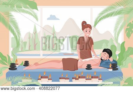 Massage Therapist Practicing Massage On Lying Man. Relaxed Man Lying On Couch And Enjoying Body Mass