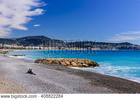 Nice, France - March 7, 2018: Cote D\'azur, France. Beautiful View Of Nice. View Of The Mediterranea