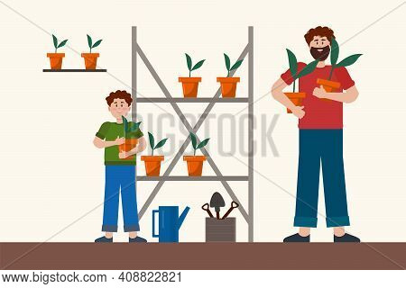Father And Son In The Garden. Vector Concept Of The Family And Creating A Home Vegetable Garden. Car