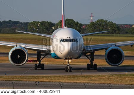 Vienna, Austria - May 20, 2018: Austrian Airlines Boeing 777-200 Oe-lpa Passenger Plane Arrival And