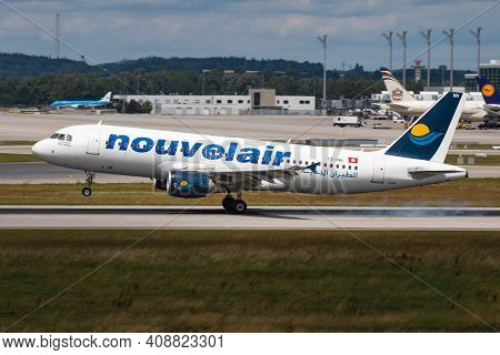 Munich, Germany - July 11, 2017: Nouvelair Airbus A320 Ts-inh Passenger Plane Arrival And Landing At