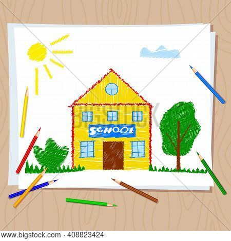 Back To School. Children's Drawing With Colored Pencils On White Paper. Drawing On Wooden Table. Sch