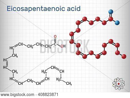 Eicosapentaenoic Acid, Epa, Icosapentaenoic Acid, Icosapent Molecule. It Is An Omega-3 Polyunsaturat
