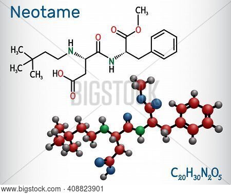 Neotame, Sweetening Agent, E961 Molecule. It Is Dipeptide, Artificial Sweetener, Aspartame Analog. S