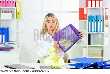 Need To Find. Girl Reading Piece Of Paper. Office Worker Digging In Garbage Bin. Businesswoman Hold