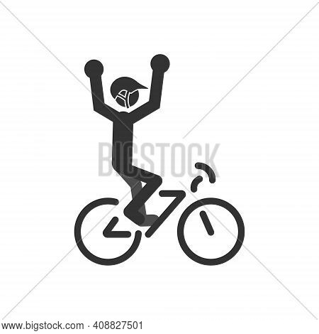 Icon Of A Cyclist With His Hands Up. The Winner Of The Competition Is A Person On A Bicycle.