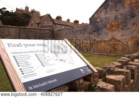 St Michael's Mount (england), Uk - August 16, 2015: St Michael's Mount Sign, Cornwall, England, Unit