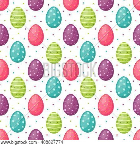 Seamless Pattern With Easter Egg. Happy Easter, Vector Illustration
