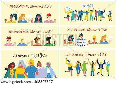 International Women S Day.diverse International And Interracial Group Of Standing Women. For Girls P