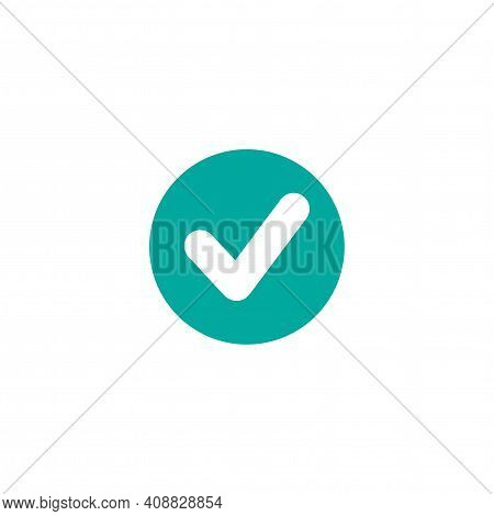 Check Mark. Valid Seal Icon. White Tick In Blue Circle. Flat Ok Sticker Icon. Isolated On White. Acc