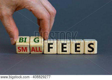 Big Or Small Fees Symbol. Businessman Turns A Wooden Cube And Changes Words 'small Fees' To 'big Fee