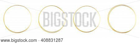 Set Of Hand Drawn Gold Circle, Sketch Lines. Vector Circular Doodle Frame, Doodle Golden Circles Iso