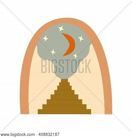 Abstract Art Arch With Crescent And Stars, Stairs With Steps Painting Background. Stairway To The Sk