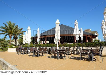 The Outdoor Restaurant In Luxury Hotel, Mallorca, Spain