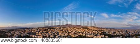 Aerial Drone Panoramic View From Penteli Mountain Of Athens, Greece.