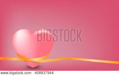 Gently Pink Heart Entwined With Gold Ribbon On A Pink Background. Vector Illustration.