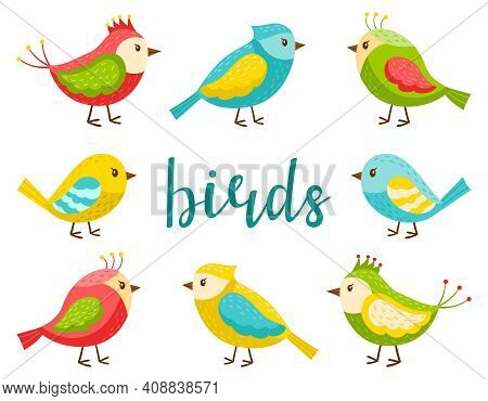 A Set Of Bright Cute Birds. A Collection Of Cartoon Spring Birds In A Flat Style. Design Elements Fo