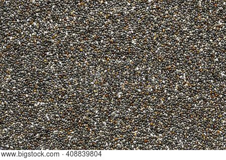 Chia Seeds Background, Closeup Of A Lot Of Chia Seeds
