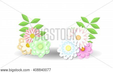 Papercut Flowers And Leaves For Spring Floral Decoration. Vector Illustration.