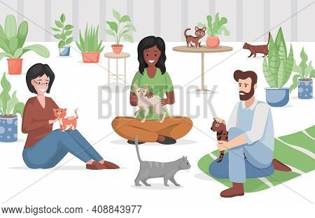 Cat Cafe Or Pet Store Vector Flat Illustration. Happy Women And Man In Casual Clothes Sitting On The