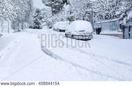 Beautiful Winter Morning Snow Covered Streets Of Athens, Greece, 16th Of February 2021.