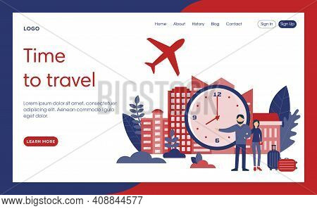 Webpage Template Vector Illustration In Flat Cartoon Style. Website Interface Composition. Two Chara