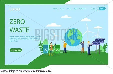 Webpage Template Vector Illustration In Flat Cartoon Style. Website Interface Composition Of Zero Wa