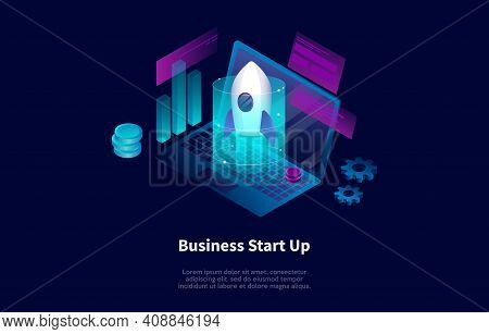 Isometric Composition In Cartoon 3d Style. Vector Illustration On Dark Background With Text, Infogra