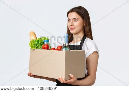 Employees, Delivery And Online Orders, Grocery Stores Concept. Profile Of Nice Cute Saleswoman, Cash