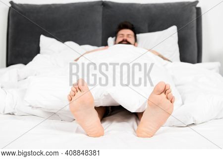 Male Pedicure. What A Great Morning. Sleepy Man In Bedroom. Man Sleep In Morning. Energy. Asleep And
