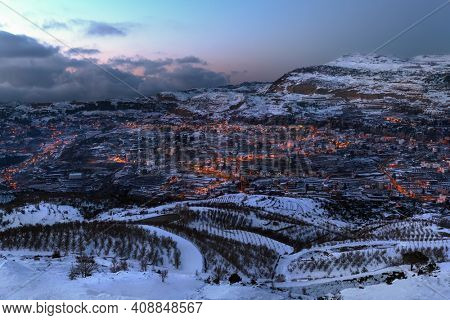 Amazing Landscape of a Little Mountainous Town at the Evening. Winter Vacation in Faraya. Lebanon.
