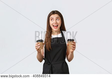 Grocery Store Employees, Small Business And Coffee Shops Concept. Friendly Cheerful Smiling Barista
