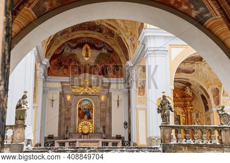 Church Of Baroque Monastery At Svata Hora, Chapel On The Holy Mountain, Basilica Minor And Cloister