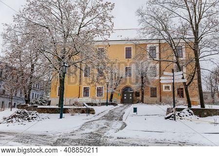 Ernestinum Castle, Narrow Picturesque Street With Renaissance Historical Baroque And Renaissance Bui