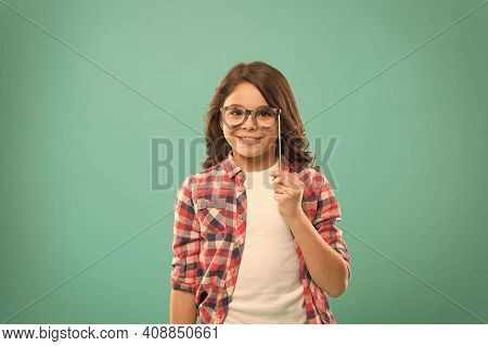 Cute Nerd. Smart Baby. Kid Hold Cute Eyeglasses Photo Booth Props Party Accessory. Child Charming Tu