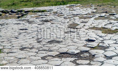 Kirkjugolf, The Church Floor In Kirkjubaejarklaustur Is A Natural Columnar Basalt, Eroded And Shaped