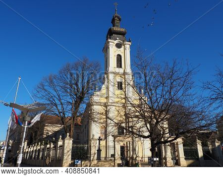 Sremska Mitrovica, Serbia, February 15, 2021. Orthodox Church Of St. Demetrius. The Church Belongs T