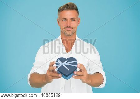 Romantic Mood. Heart Gift Box. Black Friday On Holiday. Friendly Shop Assistant. Handsome Man Buy Gi