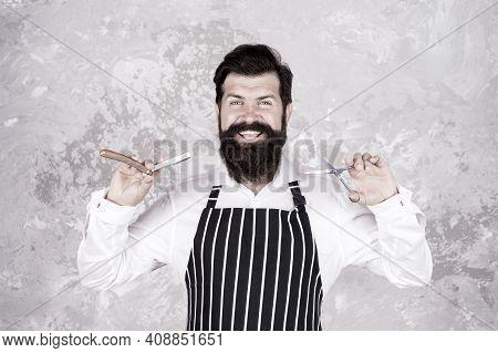 Bearded Hipster Shaving. Barbershop Master. Barber Tools. Taking Good Care Facial Hair. Vintage Barb