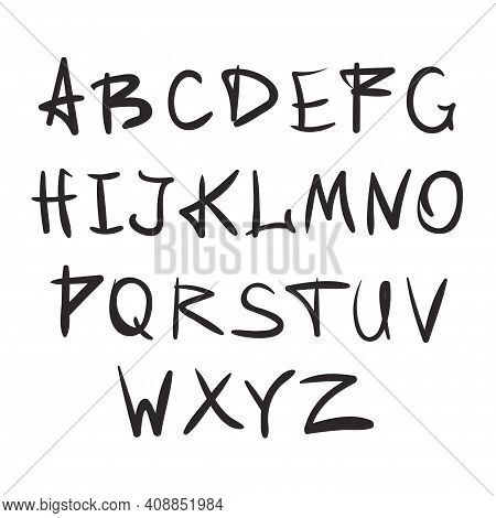 Alphabet In English. Hand Drawn Typeface. Letters Handwritten In Modern Style For Logo Design, Poste